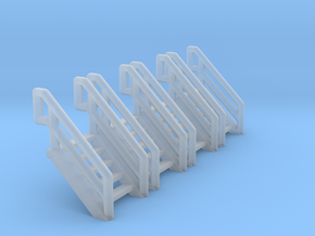 Z Scale Industrial Stairs 5 (4pc) in Smooth Fine Detail Plastic