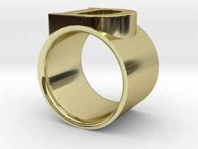 D ring in 18k Gold Plated Brass
