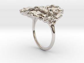Coral Ring I   in Rhodium Plated Brass