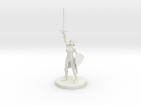 Female Elf Paladin / Cleric with Sunblade in White Premium Versatile Plastic