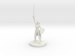 Female Elf Paladin / Cleric with Sunblade in White Premium Versatile Plastic