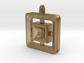 Origin ::: Square Pendant ::: v.01 in Polished Gold Steel