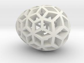 Mosaic Egg #10 in White Premium Versatile Plastic