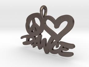 32 – PLDANCE - HAND-WRITTEN in Polished Bronzed Silver Steel: Small