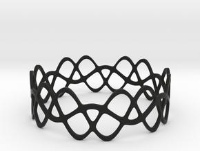 Braided Wave Bracelet (67mm) in Black Premium Versatile Plastic