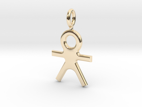 Human Pendant in 14K Yellow Gold