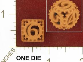Static Gear Die (D6) in White Natural Versatile Plastic