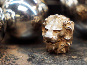 Lion Head in Polished Bronze Steel