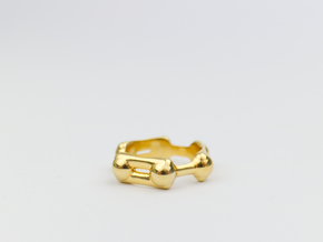 Benzene Ring Molecule Ring 3D in 18k Gold Plated Brass: 6.5 / 52.75