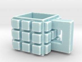 CupCube2 in Gloss Celadon Green Porcelain: Medium
