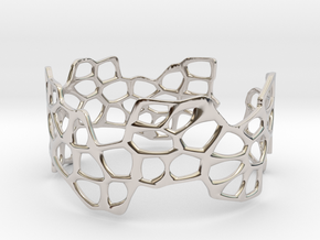 Cells Bracelet (open, 64mm) in Rhodium Plated Brass