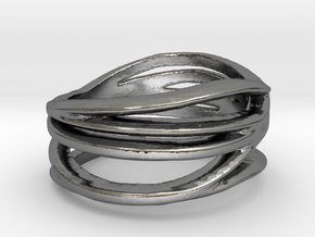 Waves Ring in Polished Silver