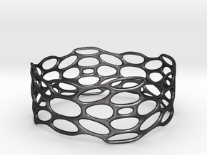 BRACELET_TIS_bracelet_CUBE_03d in Polished and Bronzed Black Steel: Medium