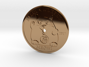 Lucky Cat Coin in Polished Brass