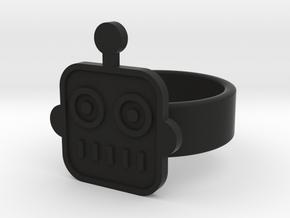 Robot Ring in Black Natural Versatile Plastic: 8 / 56.75