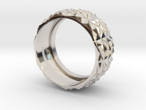 Complex Geometric Triangle Pattern Band - Simple in Rhodium Plated Brass: 5 / 49