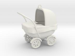 Xmas baby stroller ornament in White Natural Versatile Plastic