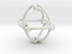 Octahedral knot (Rope with detail) in White Natural Versatile Plastic: Medium