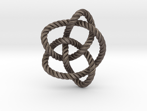 Knot 8₁₆ (Rope with detail) in Polished Bronzed Silver Steel: Large