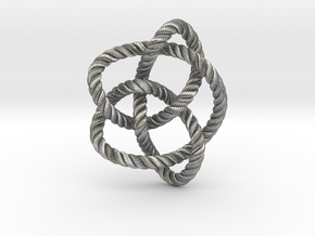 Knot 8₁₆ (Rope with detail) in Natural Silver: Large