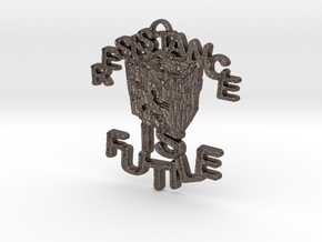BORG Cube Pendant in Polished Bronzed Silver Steel