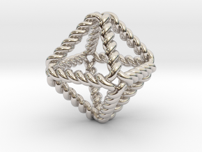 Twisted Octahedron RH in Rhodium Plated Brass