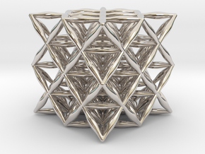 "Flower Of Life 64 Tetrahedron Grid 1.2"" in Rhodium Plated Brass"