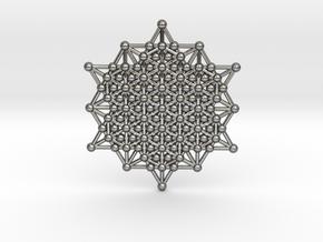 64 Tetrahedron Grid - Merkaba Matrix in Polished Silver