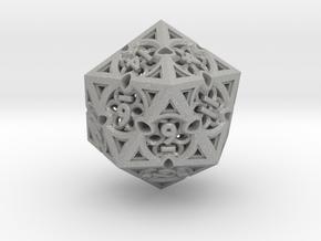 Gothic Rosette d20 in Aluminum