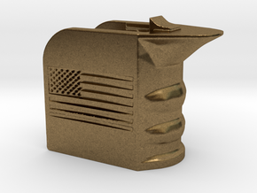 M4/AR15 Magwell Grip With United States Flag in Raw Bronze