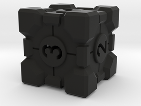 Companion Cube D6 - Portal Dice in Black Natural Versatile Plastic: Large