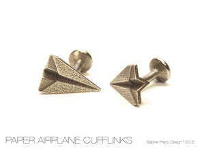 Paper Airplane Cufflinks in Polished Bronzed Silver Steel