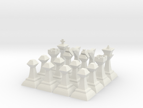 Low-Poly Chess Set (One Set Of Pieces) in White Natural Versatile Plastic
