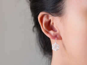 Icosahedron Earrings in White Strong & Flexible Polished