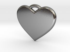 Text Engravable Heart Pendant 3 - Single Line in Polished Silver