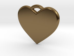 Text Engravable Heart Pendant 3 - Single Line in Polished Bronze