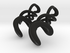 Tumbling Loops Earrings - Small in Black Premium Versatile Plastic