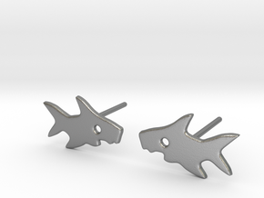 Shark Earring in Natural Silver