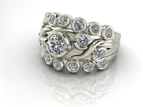 Multi stone ring NO STONES SUPPLIED in Fine Detail Polished Silver