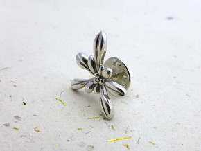 Arabidopsis Lapel Pin -Science Jewelry in Polished Silver