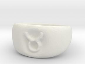 Taurus Ring sz8 in White Natural Versatile Plastic