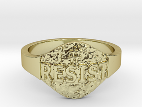 Resist Hashtag Ring in 18k Gold Plated Brass: 9 / 59
