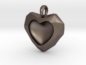 Frozen Heart Pendant in Polished Bronzed Silver Steel