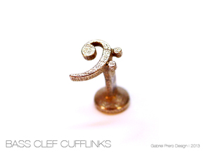 Bass Clef Cufflink (single) in Polished Bronzed Silver Steel
