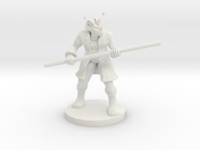 Red Dragonborn Male Monk with Staff in White Strong & Flexible