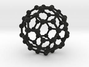 0370 Truncated Icosahedron V&E (a=1cm) #003 in Black Premium Strong & Flexible