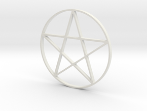 Large Pentagram (Pentacle) in White Natural Versatile Plastic
