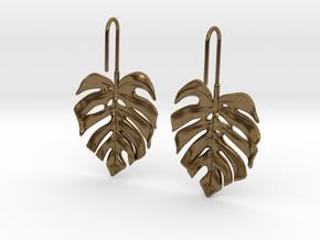 Monstera Drop Earrings in Natural Bronze