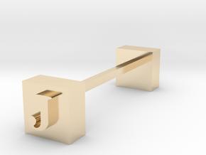 Monogram / Letter J . Knife rest & Cutlery rest in 14k Gold Plated Brass