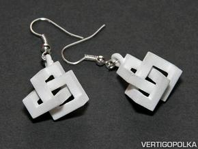 Cubic Knot Earrings in White Processed Versatile Plastic
